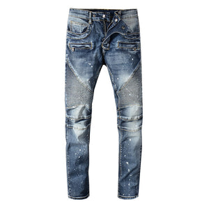 New Painted blue pleated biker jeans