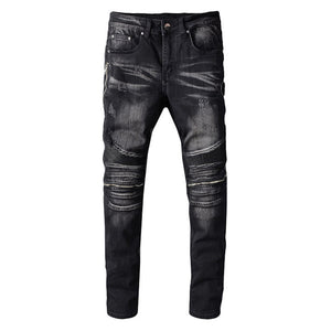 Freshset London Premium Leather Patchwork jeans - Fresh Set