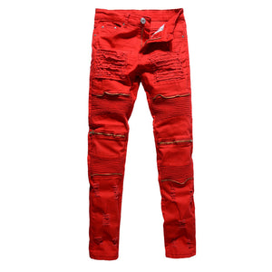 Gold zip Men's biker jeans - Fresh Set