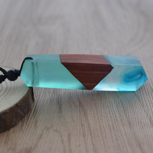 Handmade resin wood necklace pendant