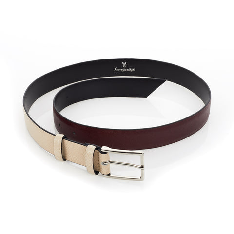 Signature Belt - Mulberry & Beige