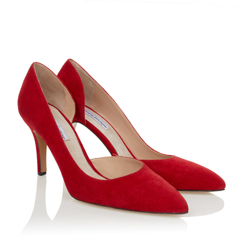 Half d'Orsay Pump - Red Suede