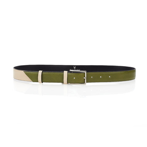 Signature Belt - Olive & Beige