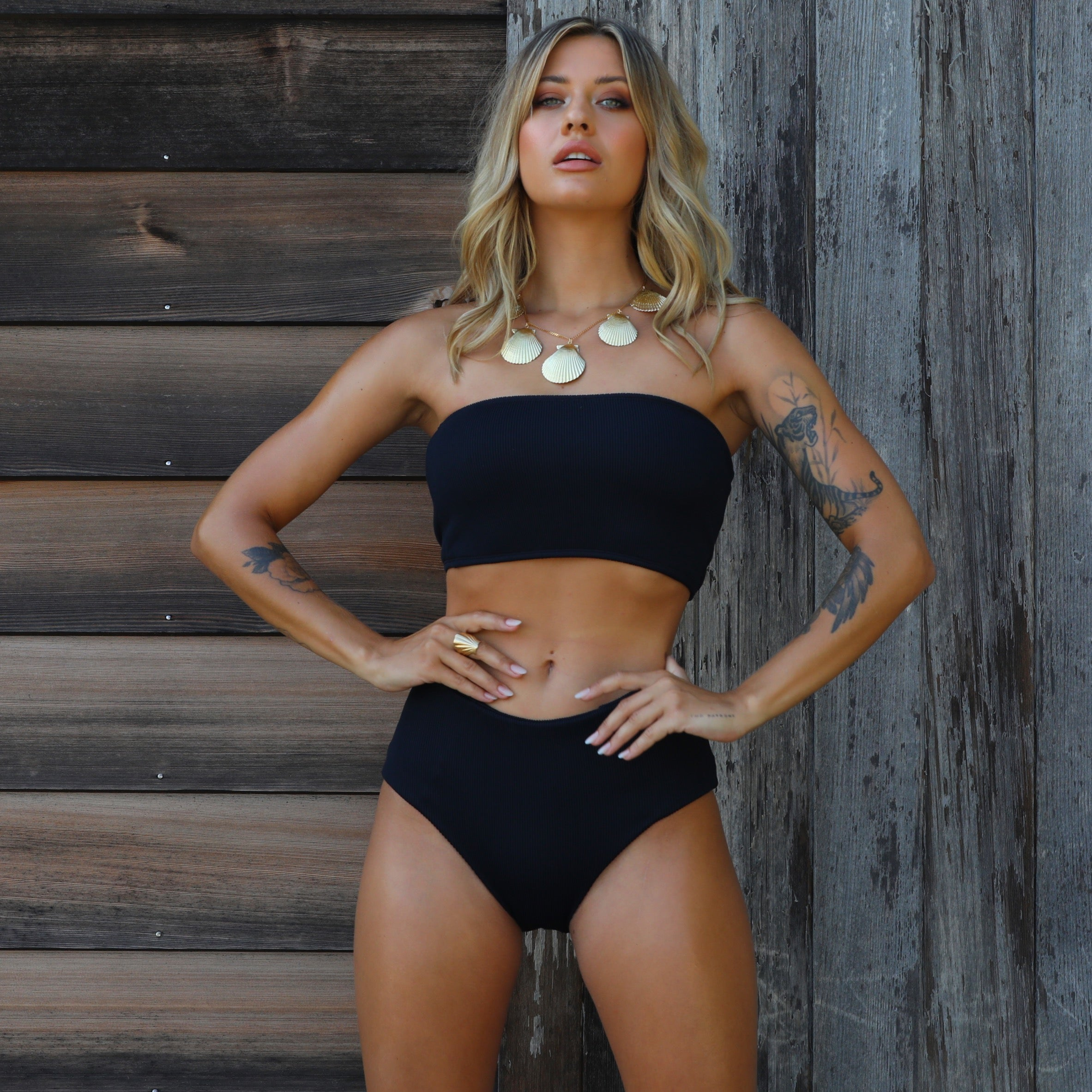 High Waist Panel Bikini Bottom - Pitch Black Ribbed