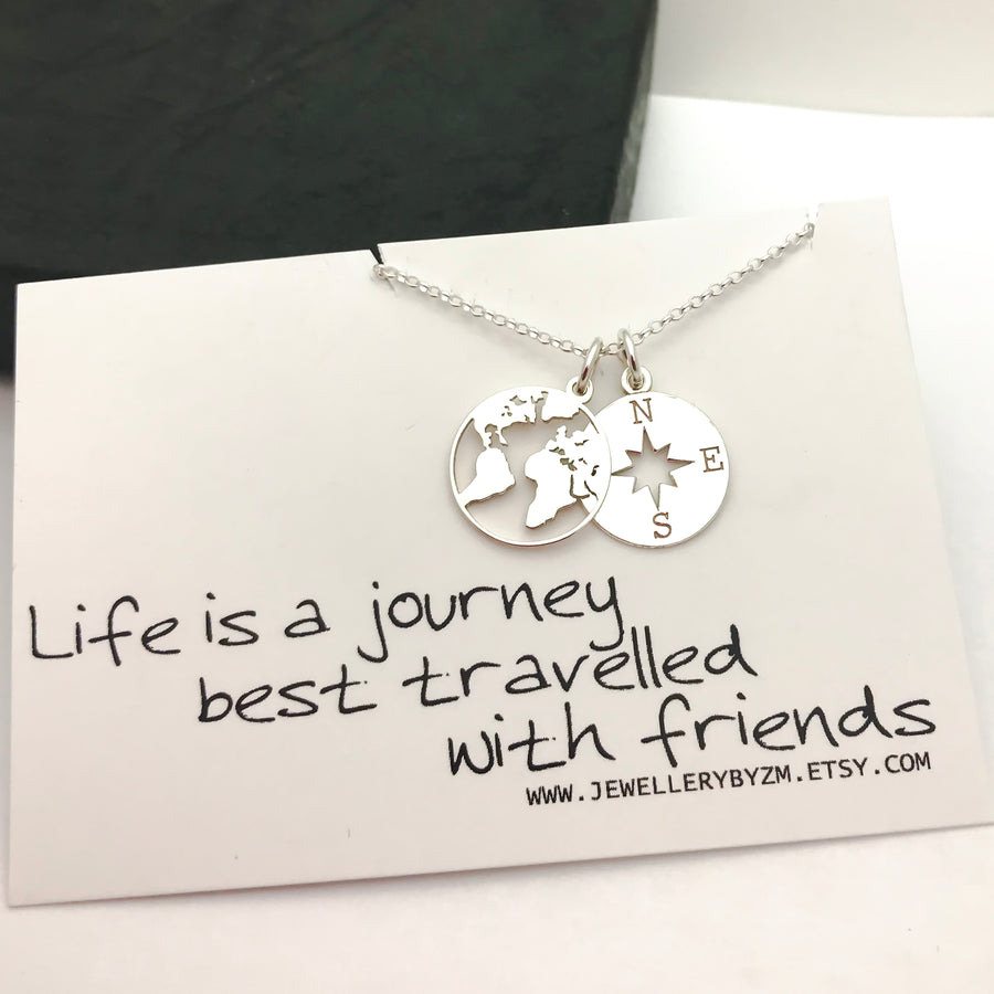 All jewellerybyzm best friend gift sterling silver compass and world map necklace life is a journey from 2530 gumiabroncs Gallery