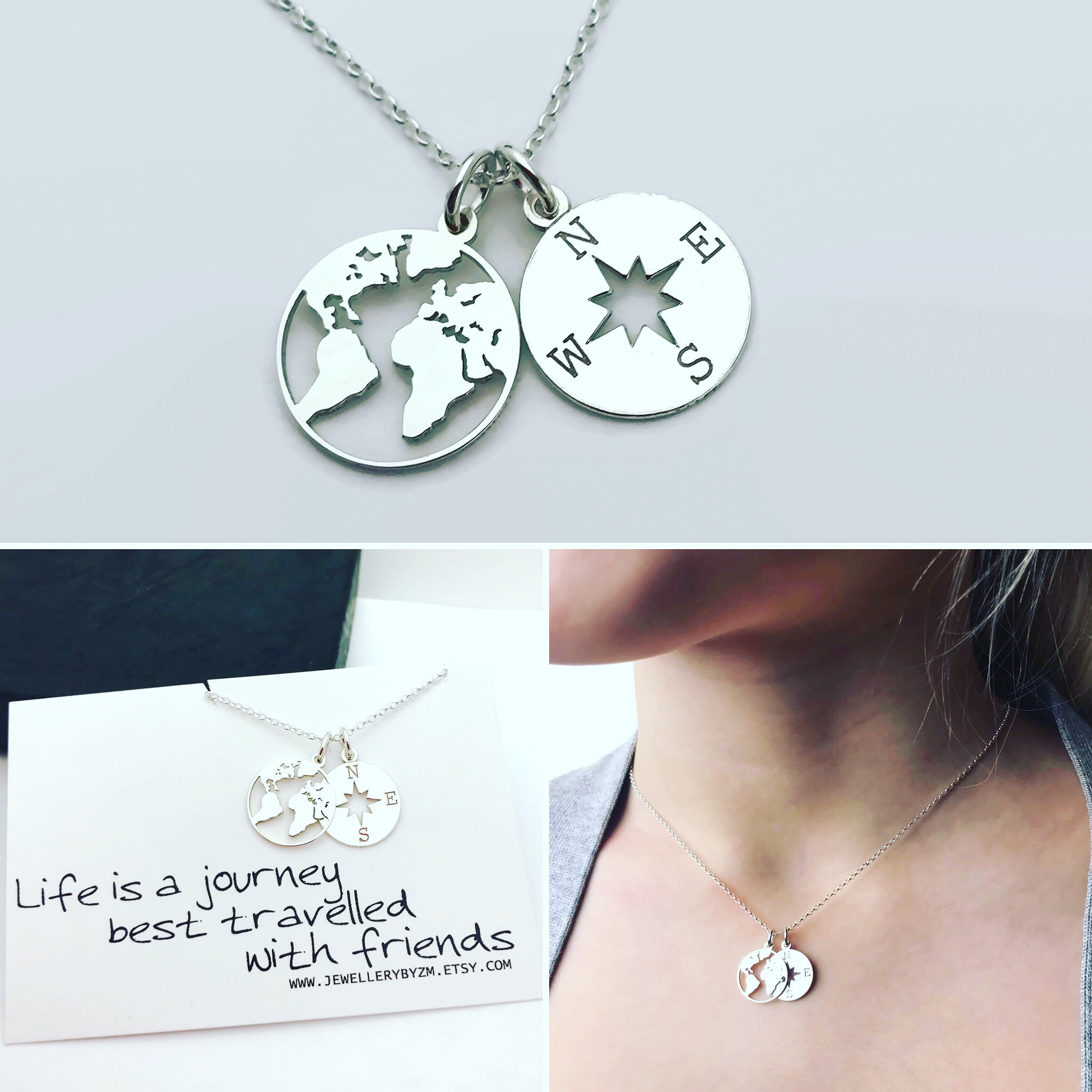 All jewellerybyzm best friend gift sterling silver compass and world map necklace life is a journey from 2530 freerunsca Gallery