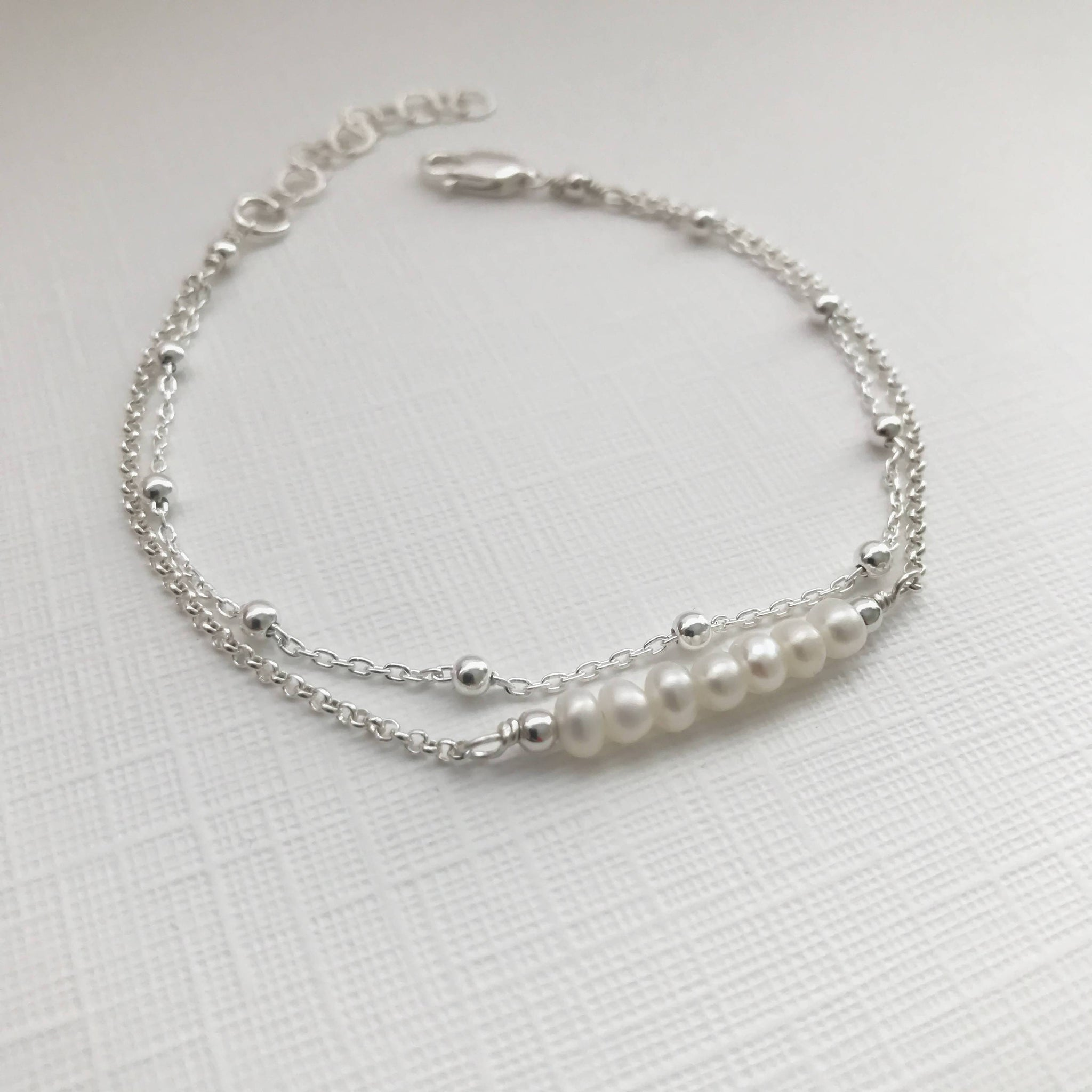 img anklet dddb chain for ladies pearl anklets satellite double collections sterling silver products
