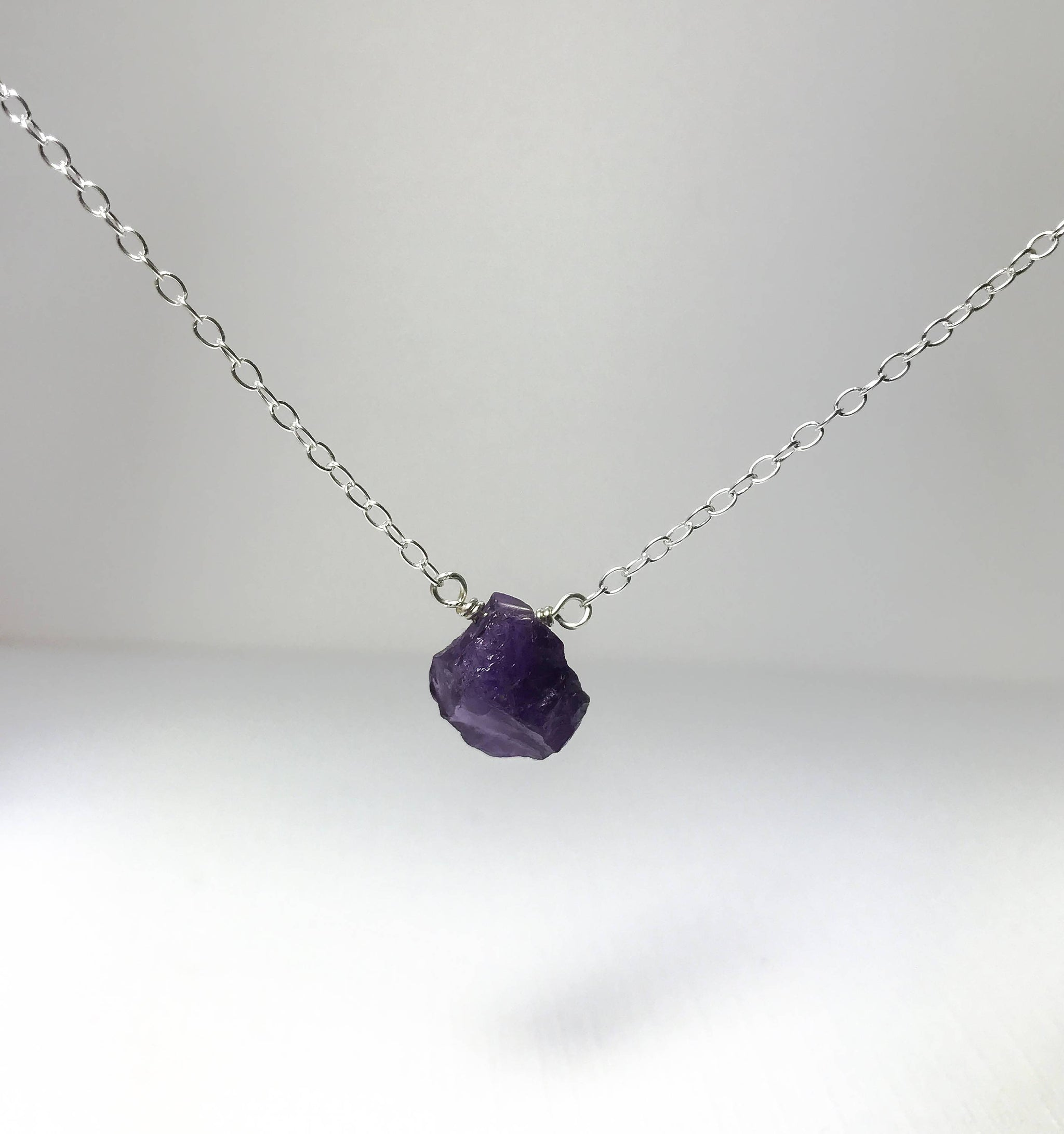 raw necklace product nazari image of silver amethyst jewelry triangle
