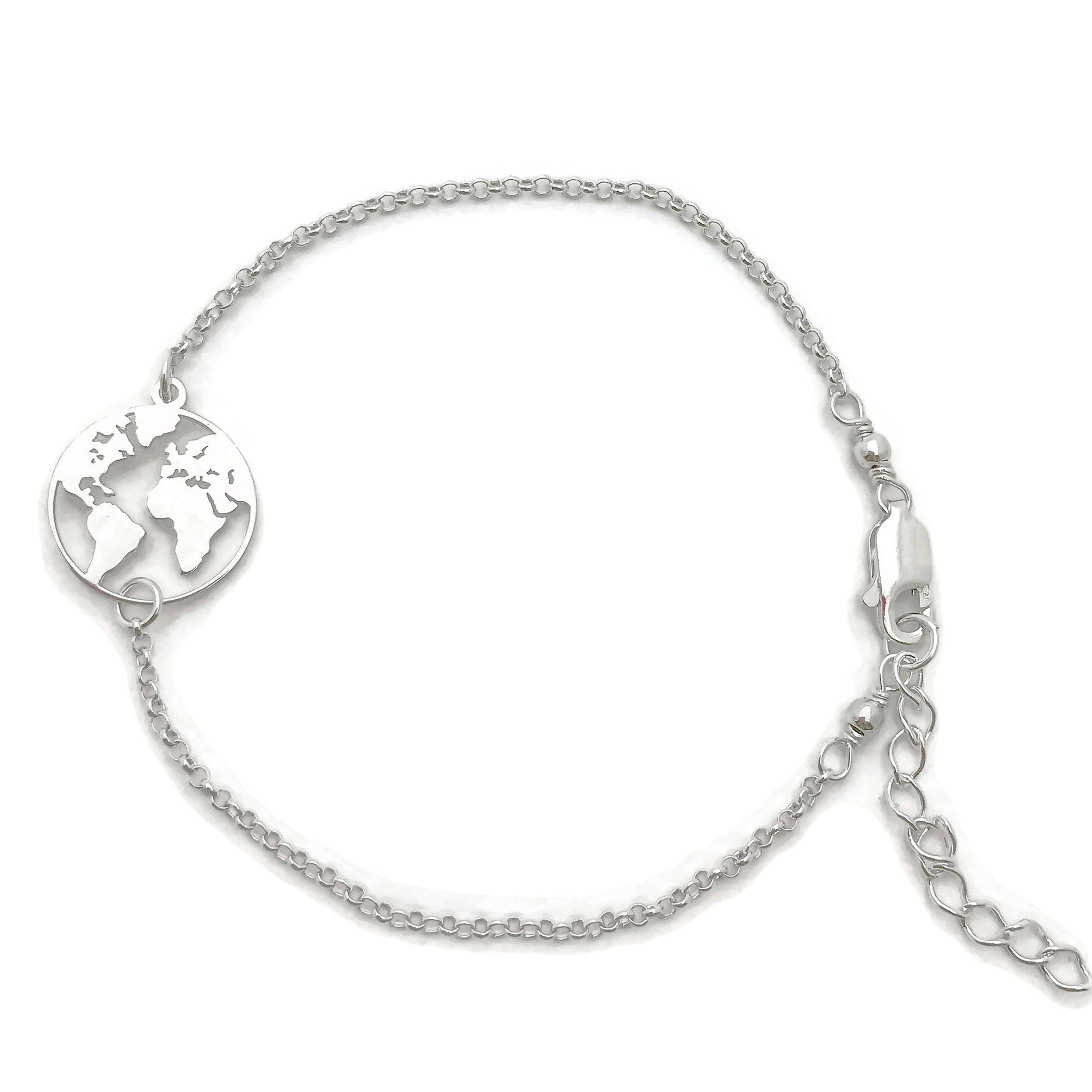Sterling Silver World Map Bracelet, Adjustable bracelet