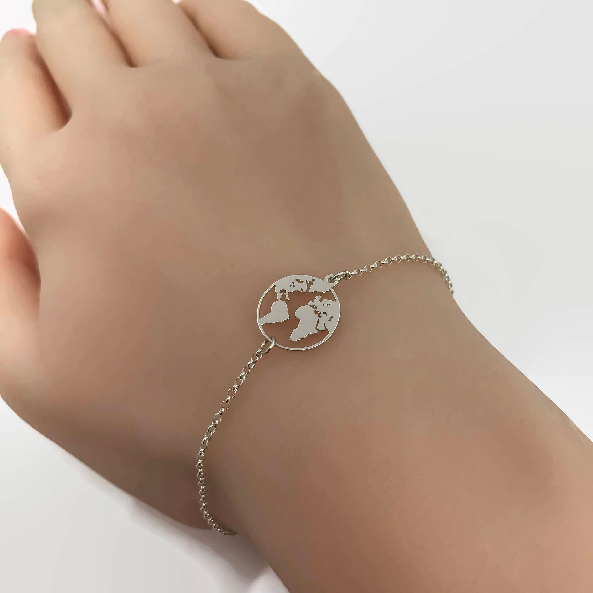 Sterling Silver World Map Bracelet Adjustable Bracelet Travel