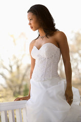 black bride with white dress