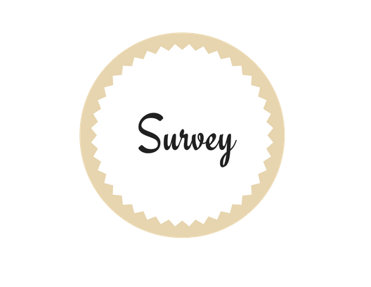 The bride bag subscription box white and brown seal with the word survey in the middle of seal