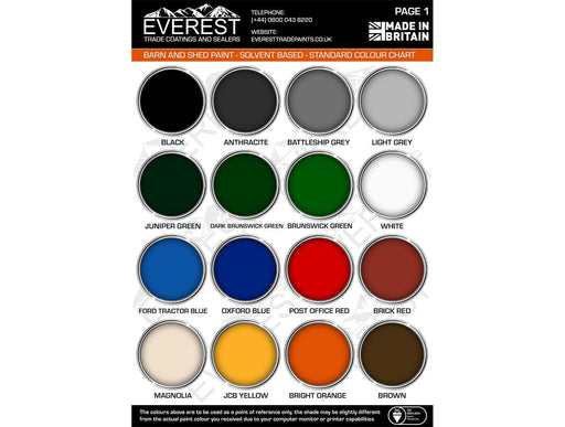Everest Trade - Agricultural and Industrial Barn Paint - Heavy Duty Oxide Gloss - Solvent Based Paint - PremiumPaints