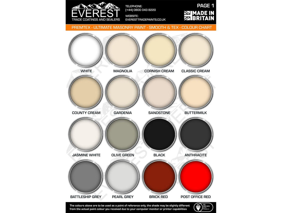 Everest Trade - PremTex Smooth Masonry Paint - High Performance - Smooth Finish - PremiumPaints