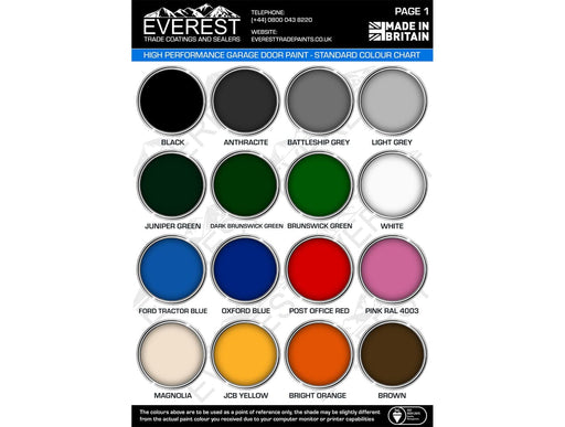 Everest Trade Paints - Garage Door Paint - High Performance Coating - 1 or 5 Litre - PremiumPaints