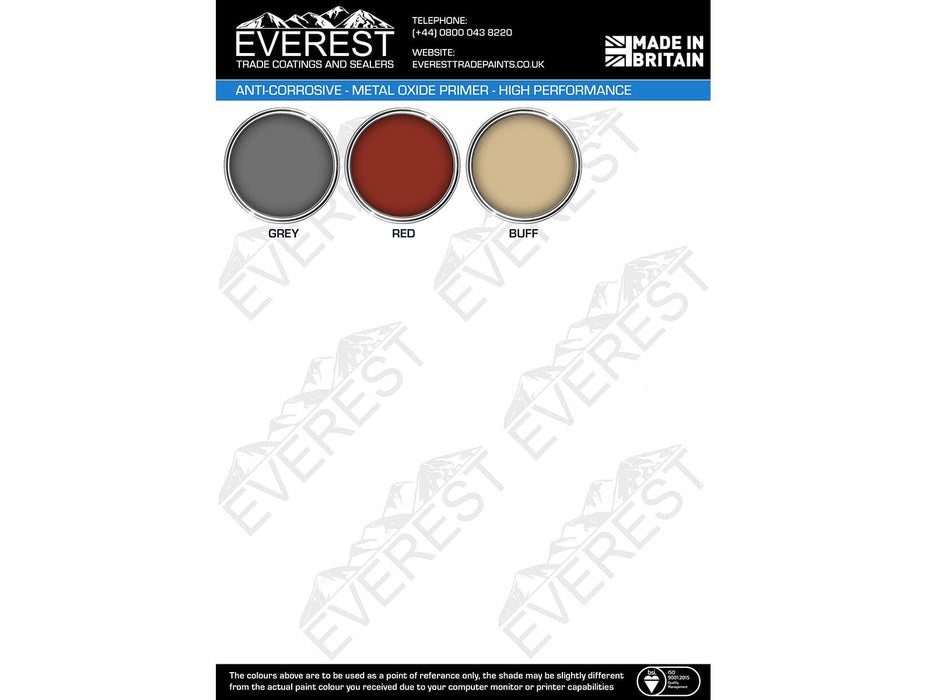 Everest Trade - Anti-Corrosive - Metal Oxide Primer Paint - High Performance - Multiple Sizes