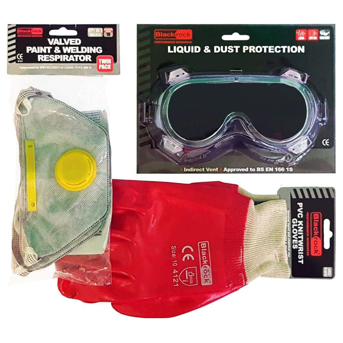 Blackrock - Safety Wear Pack - 2 x Valved Resprators, 1 x PVC Goggles and 1 x PVC Gloves - PremiumPaints