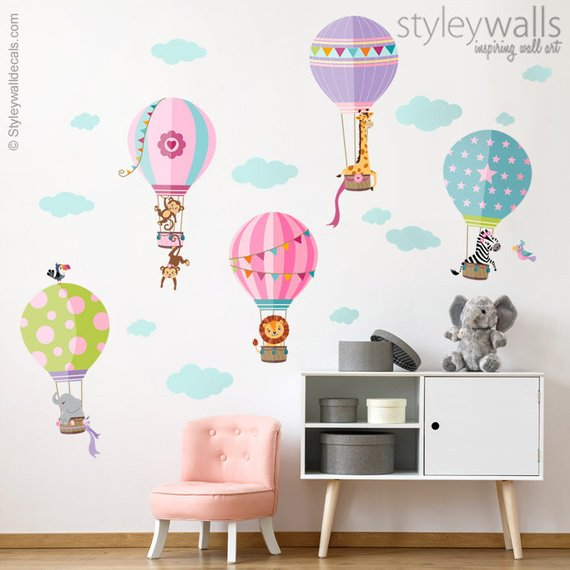 Air Balloons Wall Decal Jungle Animals Wall Decal Sticker Hot Air