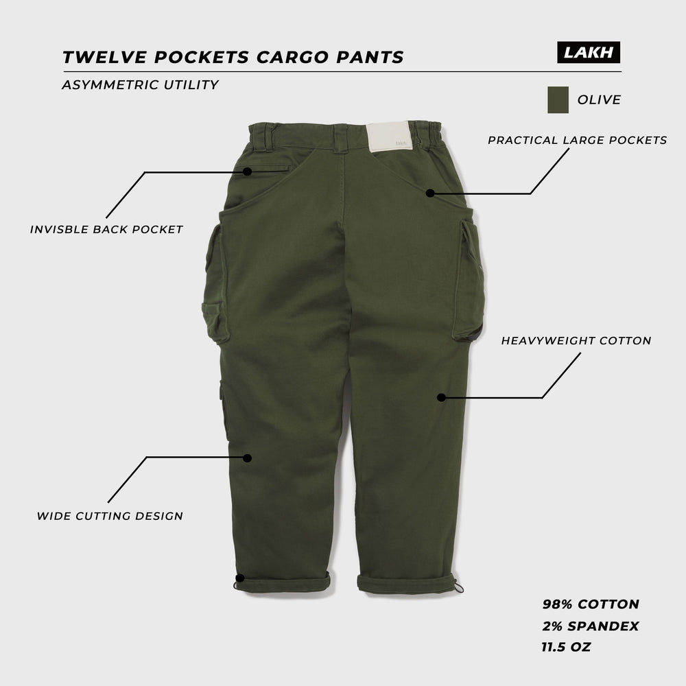 LAKH Twelve Pockets Cargo Pants- Olive