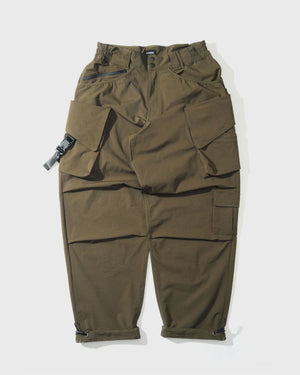 LAKH Twelve Pockets Cargo Pants- Nylon Olive