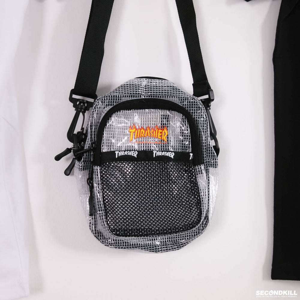 Thrasher Flame Mesh Shoulder Bag- White
