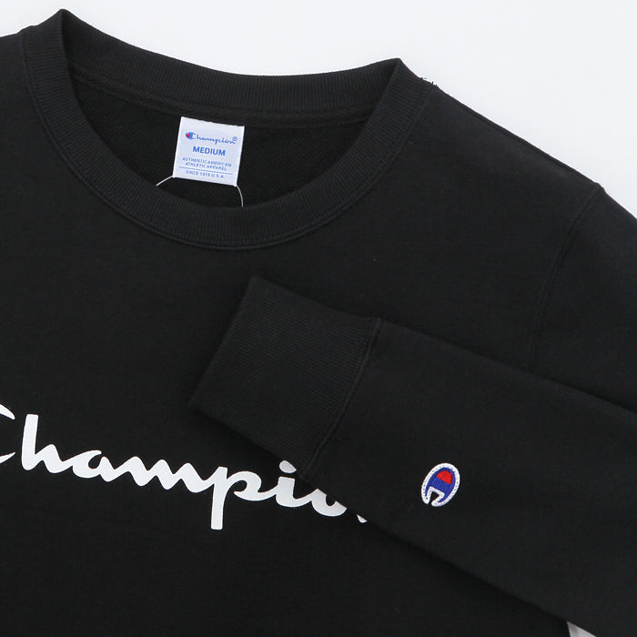 Champion Middle Logo Crewneck(Women)  - BLACK