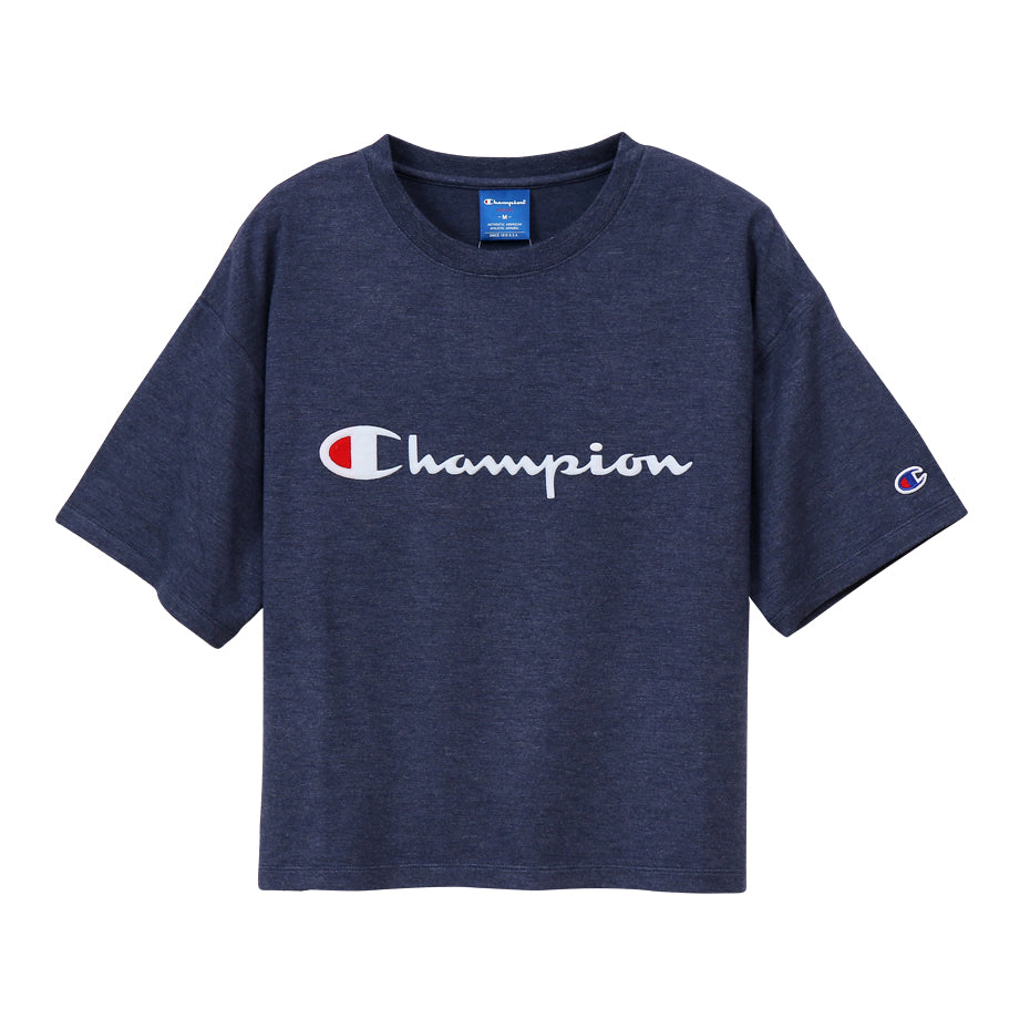 CHAMPION W Middle Logo Tee - NAVY