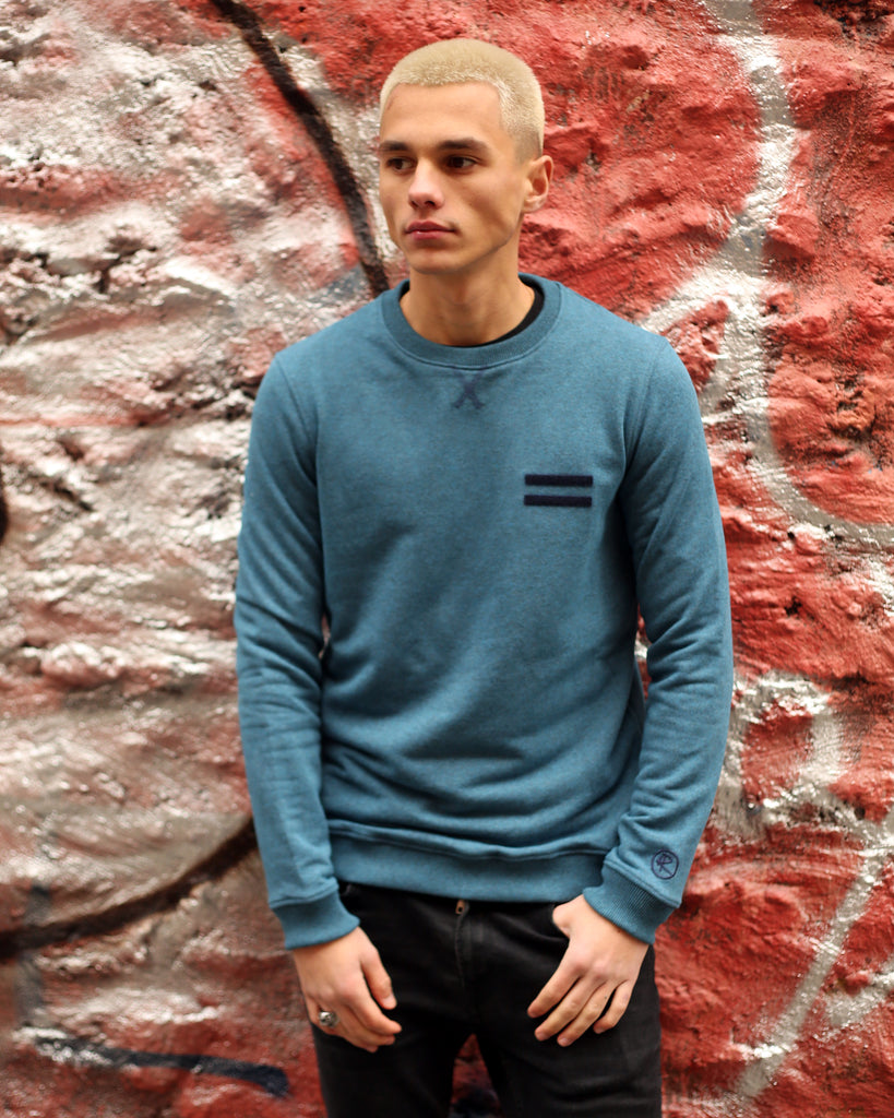 Pull col rond - Bleu Paon