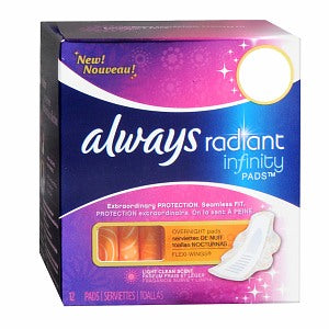 ALWAYS Radiant Infinity Overnight Pads with Flexi-wings 12s - ALWAYS Radiant Infinity Pads with Flexi-wings 12s