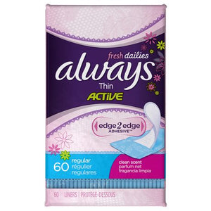 Always dailies thin Active 60 regular clean scent liners