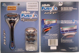 Gillette Fusion MVP 1 Razor plus 4 Cartridges