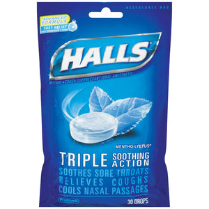 Halls Bag 30 Drop Menthol - Halls Bag 30 Drop Ice Peppermint Triple Soothing Action