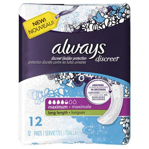 Always Discreet Sensitive Bladder Protection Long Length 12's