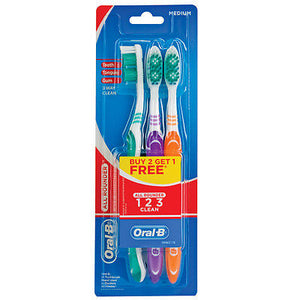 Oral-B All Rounder 123 Tooth Brush Medium 3's
