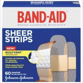 BAND-AID Sheer Strips 60 Assorted