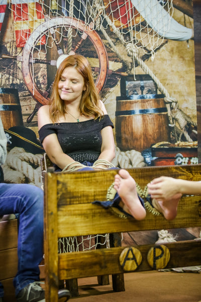 Redhead Tickling Feet in Stocks - Tickling Challenge program 11 (Kamilla)