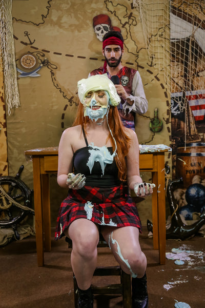 Pie Challenge Program 14 (Cah vs Marih) - ''Redhead is destroyed with numerous pies in the face and double slimed''
