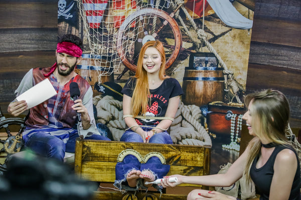 Redhead in trouble in the Pirate deck - tickling challenge Gabi - Program 09