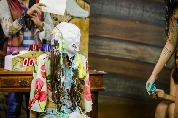 Lohrena and Leticia getting pied and slimed - program 11 - 'messy debut of Lohrena'
