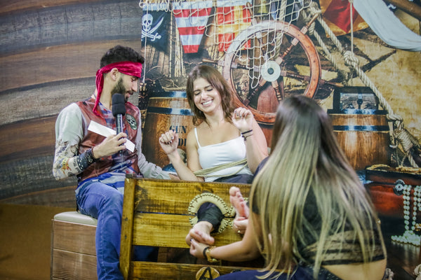 Brunette with sensitive feet is punished with tickling on the pirate deck (Marih - Program 10)