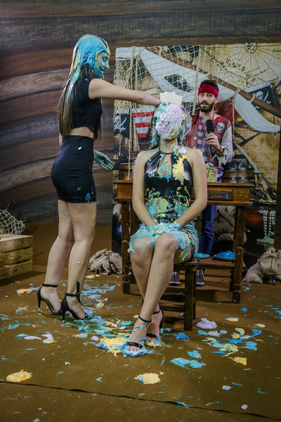 Brunettes getting pied and slimed girl - Kawany and Ingridh - Brunettes challenge Program 10