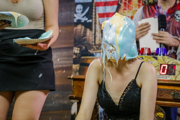 Girls gettting pied, blonde vs redhead - Program 11