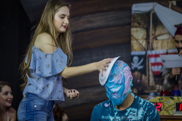 guy pied by girl, guys slimed and pie in the face