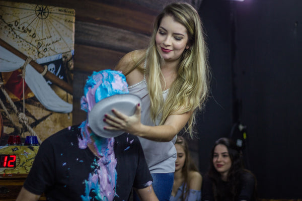 guy pied by girl, guys slimed and pie in the face; men pied