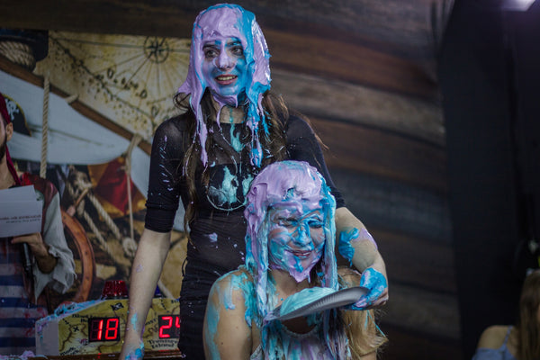 girls getting slimed, gunged and pies in the face