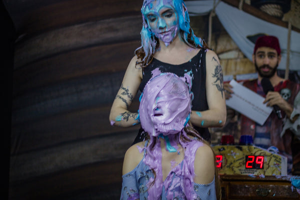 Pie in the face girls and slimed challenge x2 (Full Program 06 - two vídeos)