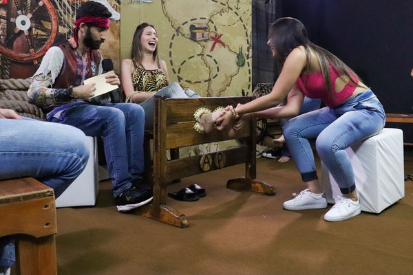 Super Sensitive Tati in jeans, poor feet tortured by long nails - Returns to the Program 13 [tickling challenge]