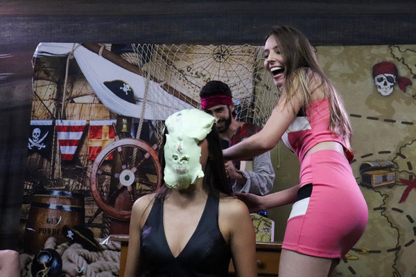 Brunette and blonde takes several pies on the pirate deck + slimed (Kau vs Tati) - pie challenge Program 13 [33 minutes] FullHD