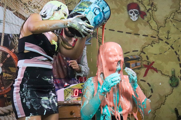 Pie Challenge Program 13 - biologist with bad luck [girls getting pied and double slimed! Mia vs Anna]