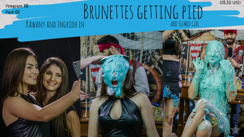 brunettes getting pied and slimed girl